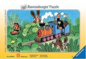 Ravensburger Puzzle. Der Maulwurf als Lokführer