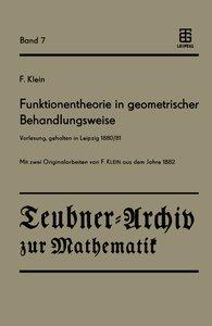 Funktionentheorie in geometrischer Behandlungsweise