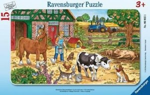 Glückliches Bauernhofleben. 15 Teile Rahmenpuzzle
