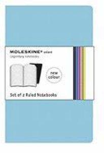 Moleskine Sky Blue Ruled Volant Notebook XL. 2 Notebooks in 2 Sh