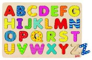 Goki 57672 - Alphabetpuzzle, Grossbuchstaben aus Holz