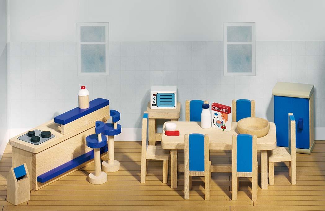 Goki 51907 - Puppenmöbel Küche für Puppenhaus, 30-teilig, Holz - zum Schließen ins Bild klicken