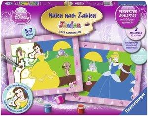 Cinderella und Belle. Malen nach Zahlen Junior