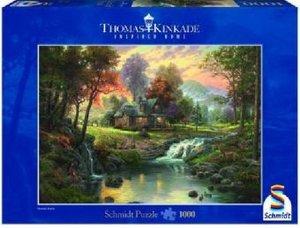 Schmidt Spiele 58445 - Thomas Kinkade: Holzhaus am Bach
