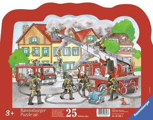 Löscheinsatz der Feuerwehr. Kontur-Rahmenpuzzle 25 Teile