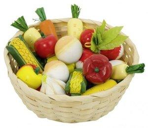 Goki 51662 - Gemüse im Korb für Kaufladen, Holz