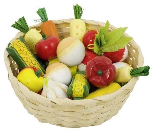Goki 51662 - Gemüse im Korb für Kaufladen, Holz - zum Schließen ins Bild klicken