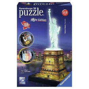 Ravensburger 3D-Puzzle 12596 - Freiheitsstatue bei Nacht, 108-te
