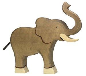 Goki 80148 - Elefant, Rüssel hoch, Holz
