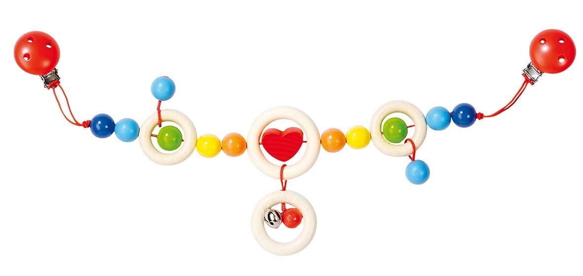 Goki 34750 - Kinderwagenkette Herz mit Clips, Holz - zum Schließen ins Bild klicken