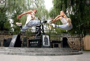 Premium Textil-Leinwand 90 cm x 60 cm quer Shaolin Kung Fu