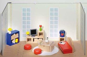 Goki 51749 - Puppenmöbel Wohnzimmer für Puppenhaus, 28 Teile