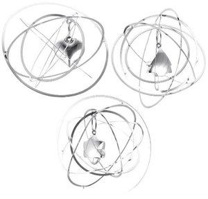 Cosmic, 3D-Hänger, 3-fach sortiert, Herz, Stern, Baum, silber