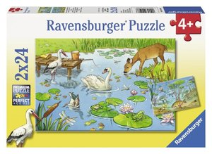 Tiere auf & unter Wasser. Puzzle 2 X 24 Teile