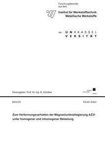 Zum Verformungsverhalten der Magnesiumknetlegierung AZ31 unter h