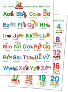 2 Fragenbär-Lernposter: Mein bärenstarkes ABC der Tiere + Zahlen