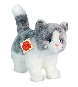 Teddy Hermann 90675 - Katze, stehend, grau, 20 cm