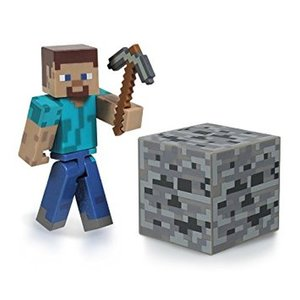 Minecraft - Alex Figur mit Lederrüstung und Kohleerz