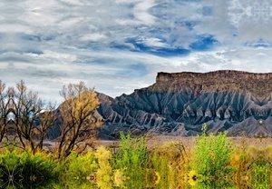 Premium Textil-Leinwand 45 cm x 30 cm quer Caineville Mesa, Utah