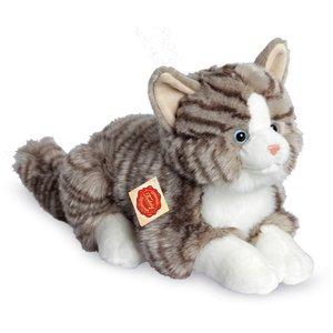 Teddy Hermann 91821 - Katze liegend, grau, 30 cm