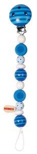 Goki 32430 - Schnullerkette Perlen, blau, Holz