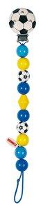 Goki 63600 - Schnullerkette Fußball, blau, Holz