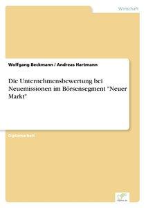 """Die Unternehmensbewertung bei Neuemissionen im Börsensegment """"Ne"""