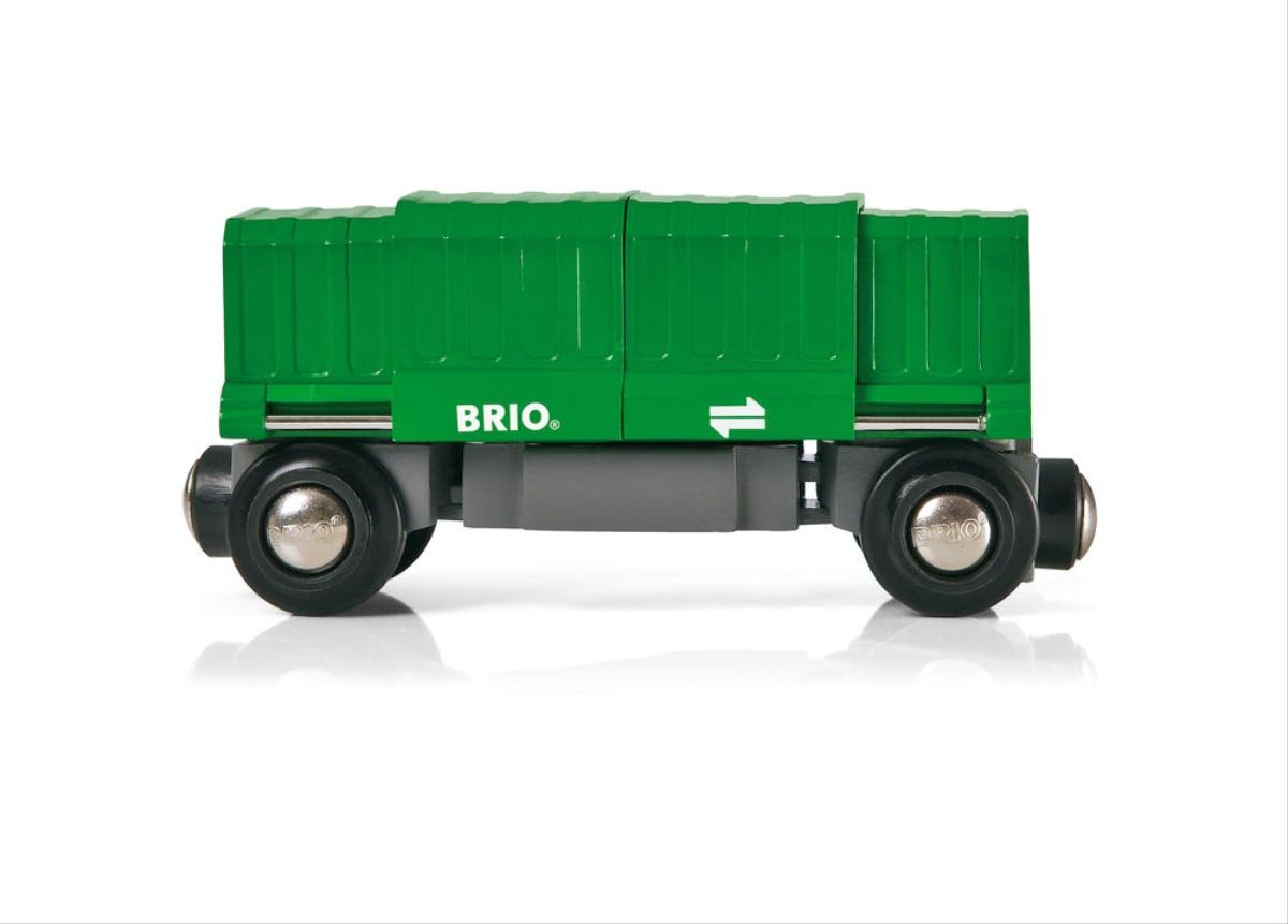 Brio 33561 - Güterwaggon mit Ladung - zum Schließen ins Bild klicken