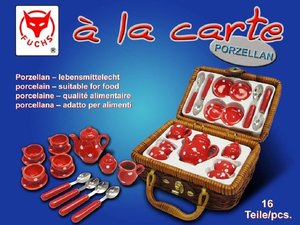Martin Fuchs 4928 - Mini-Picknick-Koffer mit Porzellangeschirr,