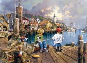 Angeln am Meer. Puzzle 2 x 500 Teile