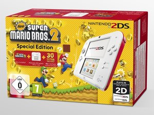 Nintendo 2DS - Konsole (Weiß-Rot) Special Edition inkl. New Supe