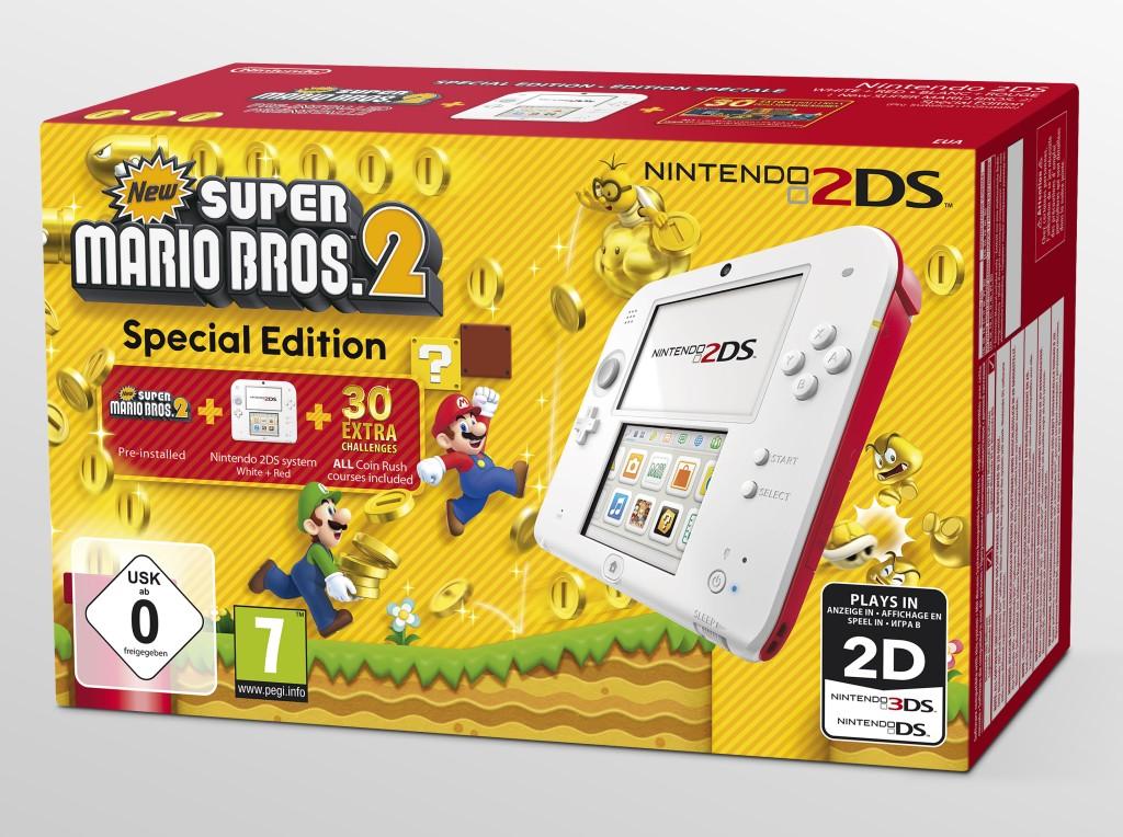 Nintendo 2DS - Konsole (Weiß-Rot) Special Edition inkl. New Supe - zum Schließen ins Bild klicken