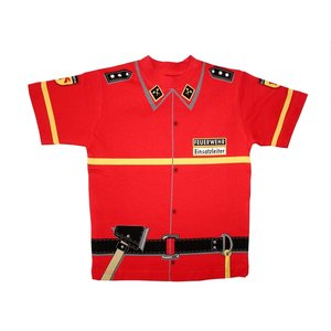 Kids Shirt Kinder Feuerwehr T-Shirt rot Uniform - Gr. 104