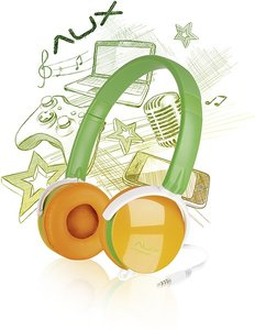 AUX - FREESTYLE Stereo Headset, green-orange SL-8752-GNOE