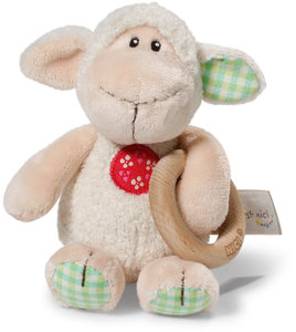 NICI Greifling Lamm Monny 15 cm mit Holzring