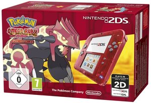 Nintendo 2DS Konsole - Transparent Rot inkl. Pokemon Omega Rubin