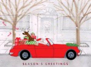 Santa Cruising Town Holiday Embellished Notecards