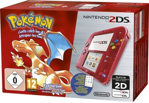 Nintendo 2DS - Konsole - Rot Transparent inklusive Pokémon Rote