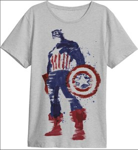 Captain America - HERO - T-Shirt -Größe M - grau