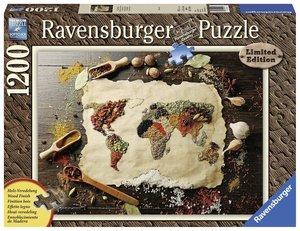 Ravensburger Puzzle Würzige Weltkarte 1200 Teile mit Holzveredel