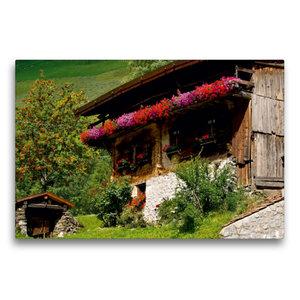 Premium Textil-Leinwand 75 cm x 50 cm quer Bauernhaus im Schnals