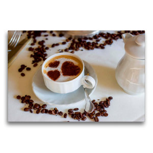 Premium Textil-Leinwand 75 cm x 50 cm quer Kaffee mit Herz