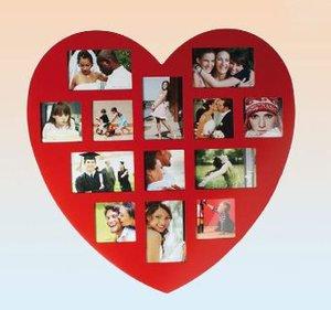 Bilderrahmen Herz, rot, für 13 Fotos