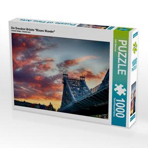"""Die Dresdner Brücke \""""Blaues Wunder\"""" 1000 Teile Puzzle quer"""