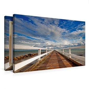 Premium Textil-Leinwand 75 cm x 50 cm quer Kleine Seebrücke