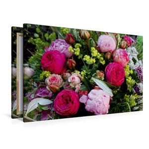 Premium Textil-Leinwand 120 cm x 80 cm quer Bunter Blumenstrauss