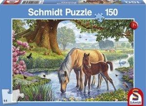 Pferde am Bach. Puzzle 150 Teile