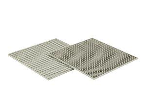 4x Bauplatte steingrau 20x20 Noppen, 16x16xcm - Basis für Spielz