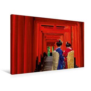 Premium Textil-Leinwand 90 cm x 60 cm quer Die Tori des Fushimi