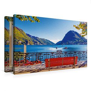 Premium Textil-Leinwand 75 cm x 50 cm quer Pause am Luganer See,